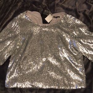 J. Crew Silver Grosgrain-trimmed Sequined Blouse